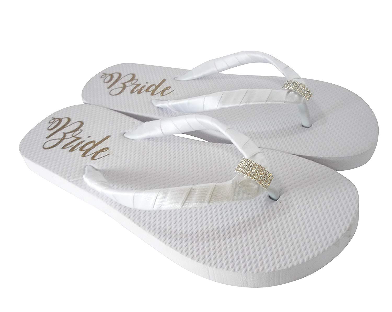 b5b6deaf76501b Get Quotations · Emerald Cut Jewelry - or choose your embellishment -  Customizable Bride Sole Flat Flip Flops