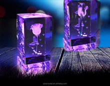yijia K9 AAA crystal 3D cube with LED base crystal rose for wedding valentine day christmas