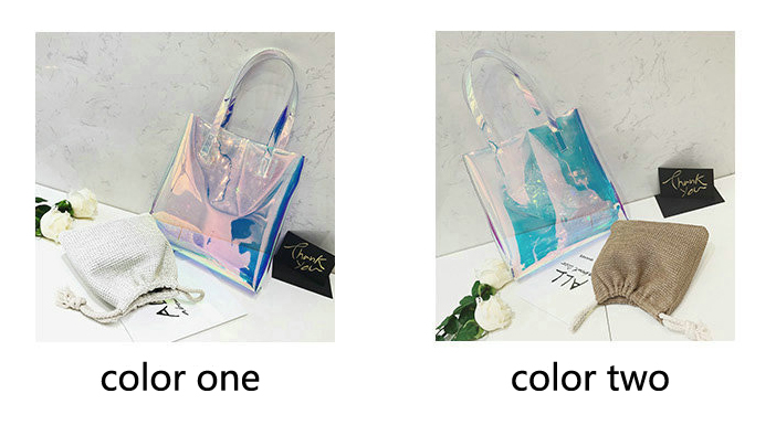 Fashion Holographic Tote Jelly Transparent Laser Cosmetic Bag Large