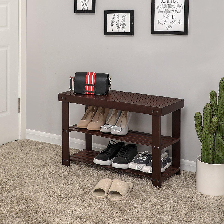 Dormitorio Banco de Zapatos de bamb/ú con caj/ón Sala de Estar para Entrada Color : Color#1