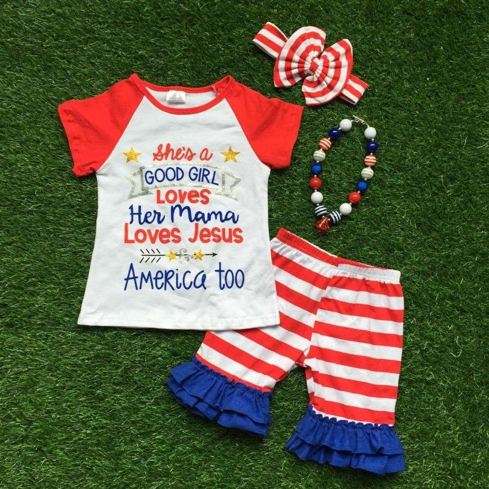 2016 hot sale new baby girls kids 4th of July summer stripe capri sets star ruffle outfits with matching necklace and bow set