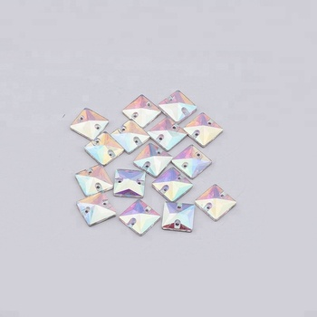 PuJiang bling colors square shaped sew on stone flatback ab rhinestone for decoration