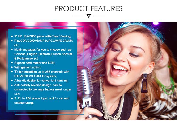 Leadstar गर्म बिक्री के साथ 9 inch पोर्टेबल कराओके डीवीडी प्लेयर स्क्रीन