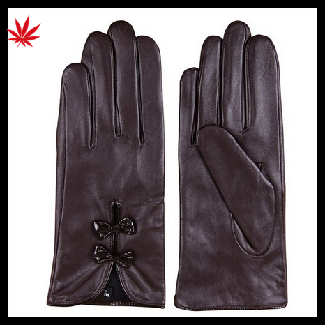 2016 Ladies fashion purple leather hand gloves with bowknot