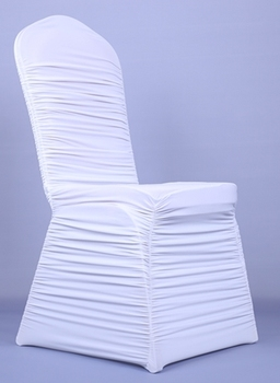 cheap white ruffled spandex chair cover for wedding party hotel