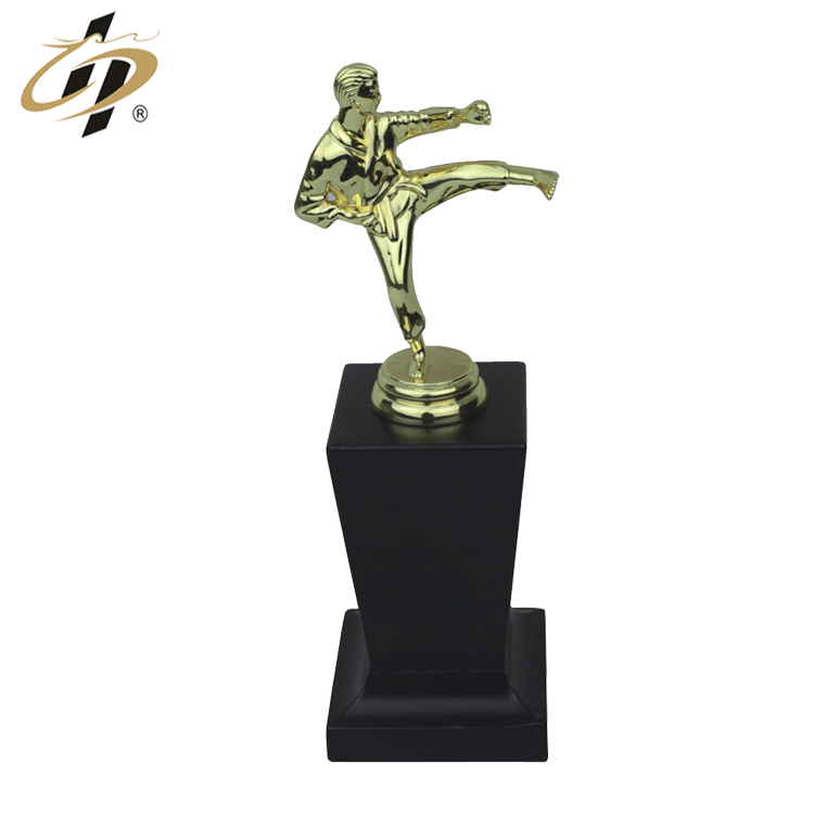 Custom metal gold sports award trophy cups with wooden base