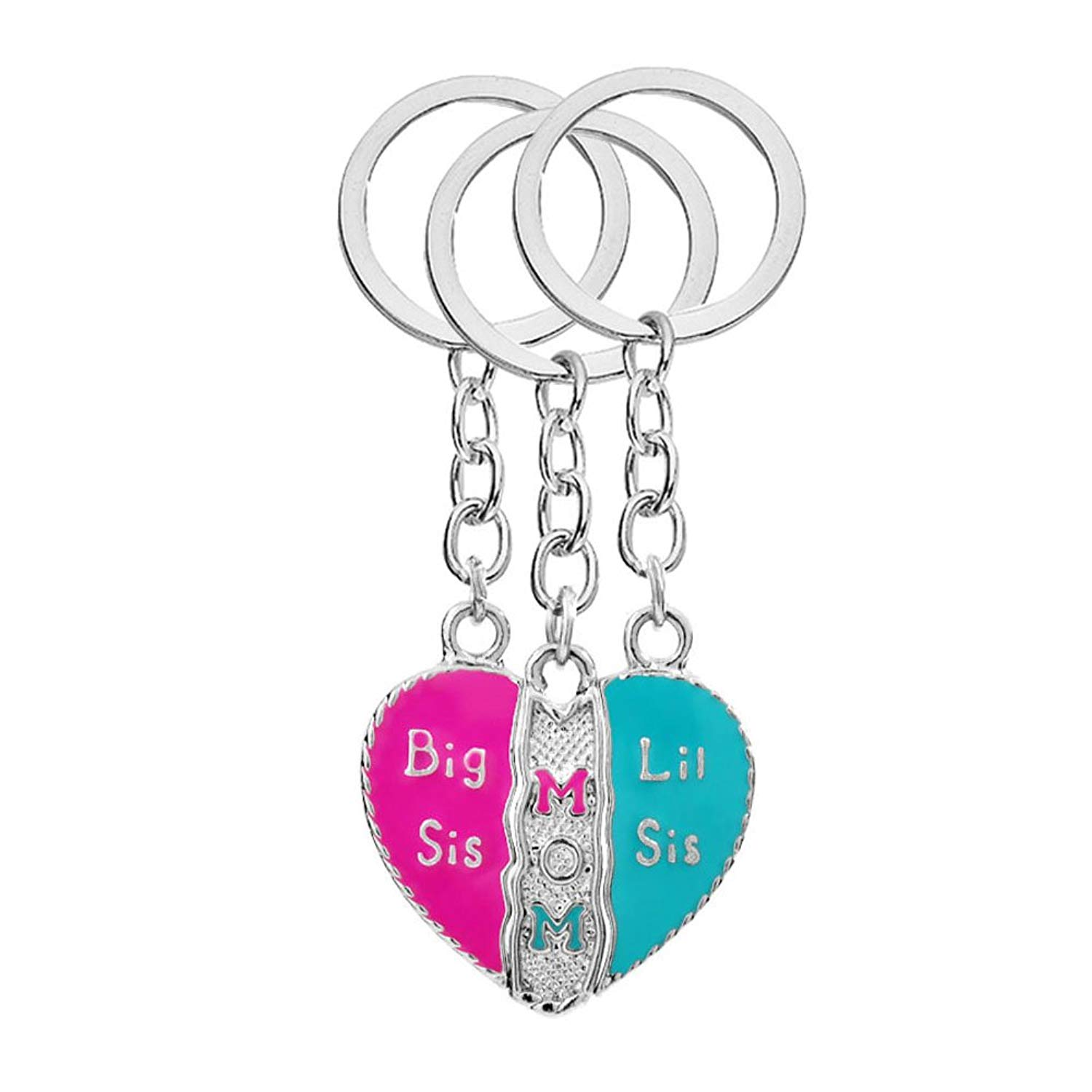 LINKY Set of 3 Big Sis Mom Little Sis Pendant Keychain Set Gifts for Mom and Daughters