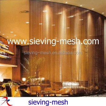 Gold Color Decorative Chain Link Metal Hanging Curtains Metallic