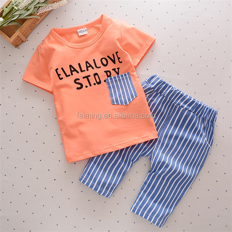 Anti-shrink promotion peruvian animal printed wholesale price baby boy clothes clothing set