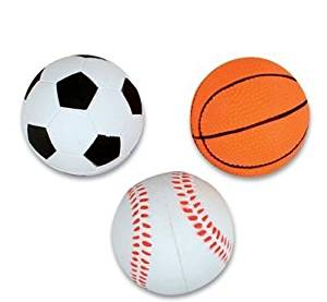 "1 Dozen 2.5"" Rubber Sport Bounce Balls - Includes Soccer Ball, Basketball and Baseball Bounce Balls - Great for Party Favors, Awards, Ball Games, Stocking Stuffers - Bulk 1 Dozen Balls"