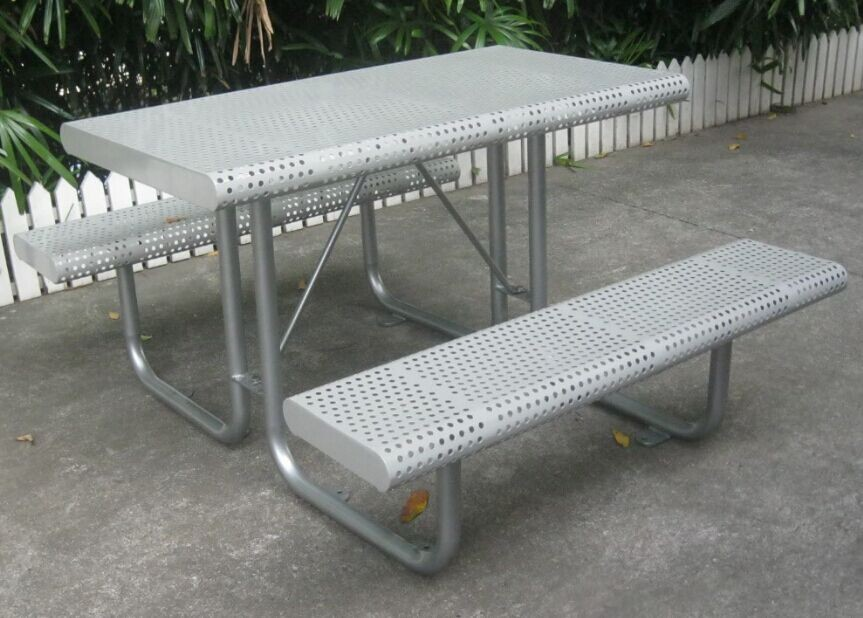 Powder coated perforated steel picnic table set outdoor metal table powder coated perforated steel picnic table set outdoor metal table and benches watchthetrailerfo