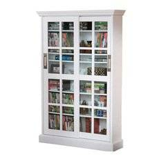 Get Quotations Window Pane Cabinet With Sliding Tempered Doors In White Unit For Large Media Collection 2