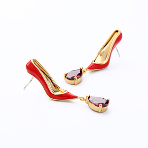 2019European style copper High-heeled red shoe ruby cubic zirconia diamond drop18k gold plated earrings stud funny earrings