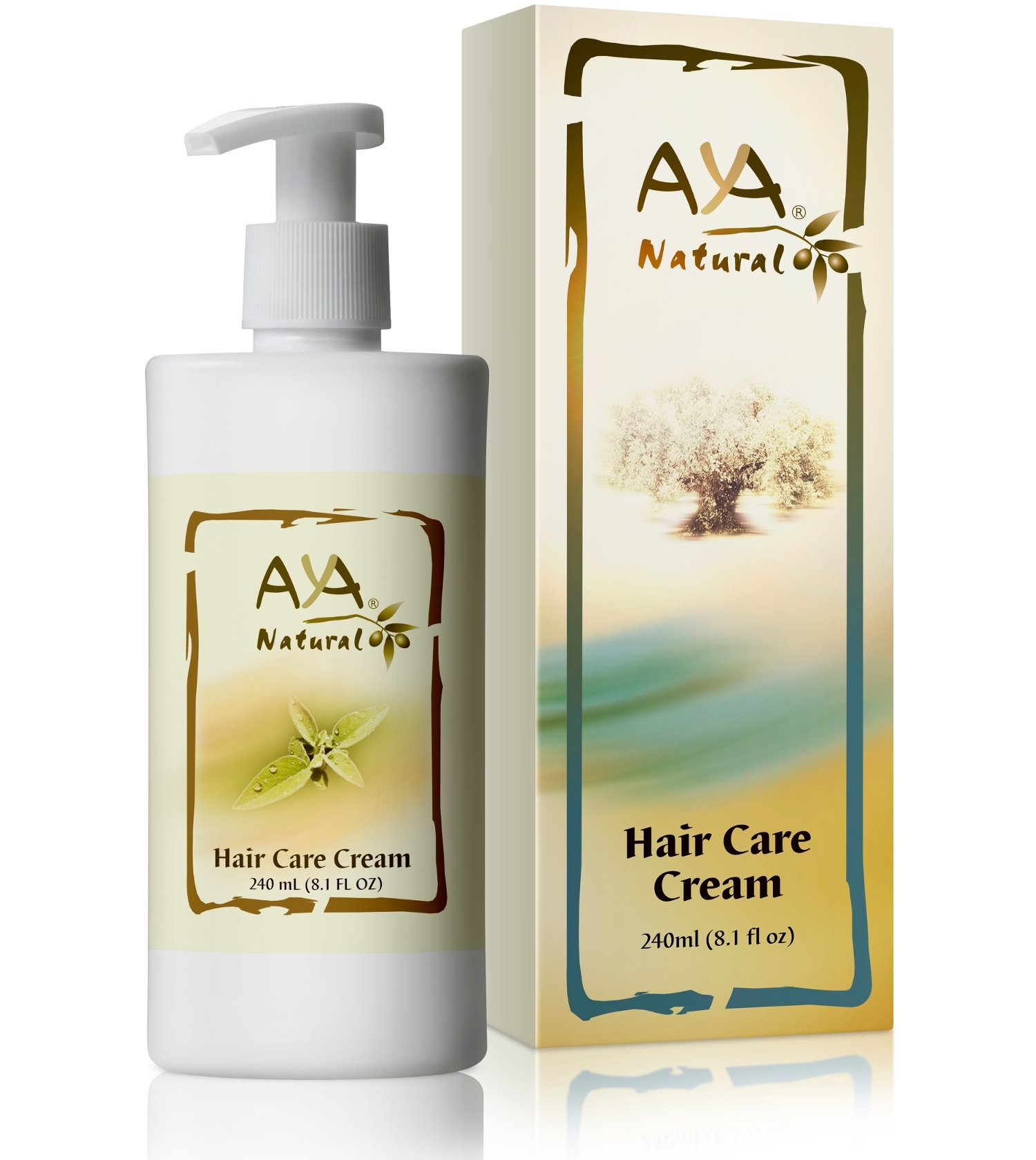 Leave-In Conditioner Hair Moisturizer Cream - Vegan 100% Natural Paraben Free Anti Frizz Nourishing Hair Care 8.1 oz - Olive, Jojoba, Coconut and Rosemary Oils Blend