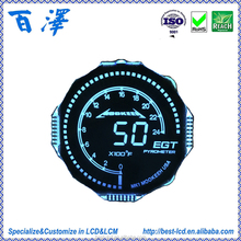 Customized Round Shape Graphic Segment LCD Display For Automobile/Motorbikes