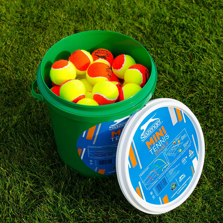 b5051f32c6 Net World Sports Slazenger Mini Orange Tennis Balls   Stage 2 Tennis Balls    60-Ball Bucket   ITF Approved Mini Tennis Balls   Portable Tennis Balls    For ...