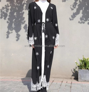 2018 new stylish black lace clothes original design polyester women open abaya