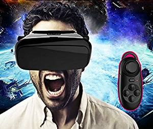 "FOME SPORTS|OUTDOORS New Generation Virtual Reality Headset 3d Vr Glasses Movies and Games with Wireless Remote Controller for All 3.5 ~ 6.0"" Smart Phones iPhone/LG/ Samsung/SONY/MOTO/HTC Black"