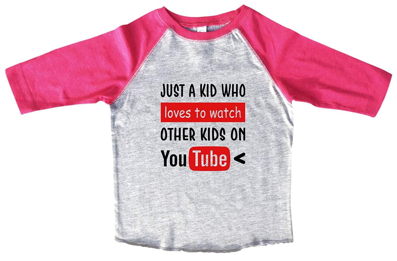 "736b22eead Get Quotations · Funny Threadz Boys Or Girls Baseball Tee Youtube Raglan  ""Just A Kid Who Loves To"