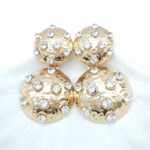 diamond gold earring round jointed earrings encrusted with rhinestones