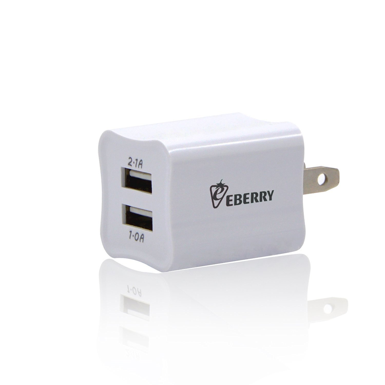 Wall Charger, eBerry 2-port Dual USB Wall Charger Made for iPhone 6s Plus 6s 5s 5 4s 4, iPad Pro 5 4 3, Samsung Galaxy S6 Edge S5 S4 S3 Note 5 4 3 and Most Android Phones - 5V 3.1A (2-port, White)