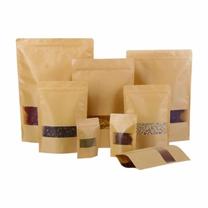 plastic kraft paper food zipper storage packaging bags for with clear window for snack , seeds , tea