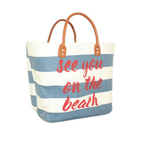 Oversized Water Resistant Travel Cotton Beach Tote Bag with PU Leather Handle