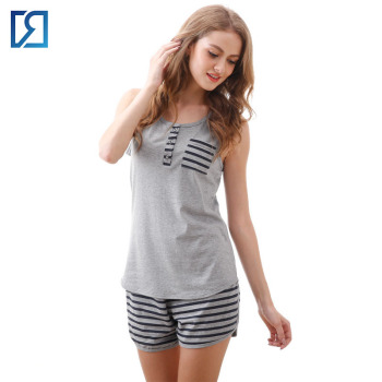 671e65c1bf Women Cotton Sleepwear Sleeveless Striped Tee and Elastic Shorts Pajama Set