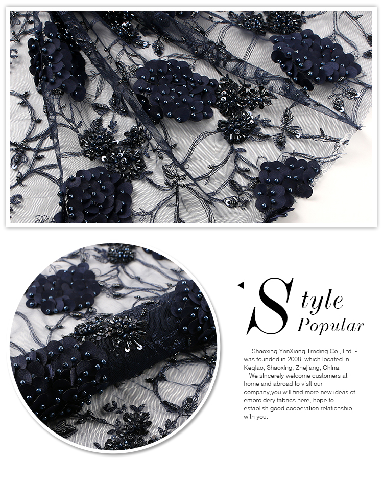 Newest arrival ready goods handmade tulle beaded lace custom 3d fabric pearls