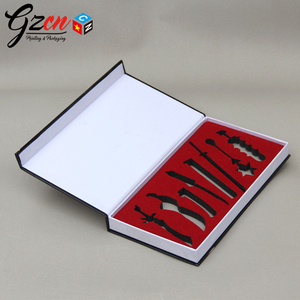 OEM printing custom rigid box for cosmetic with cut out EVA / foam insert cardboard box with magnetic