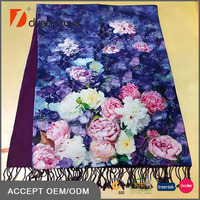 Two Sides One Side Beautiful Flowers Customized Digital Printed One Side Solid Brushed Women Winter Scarfs 52 x175