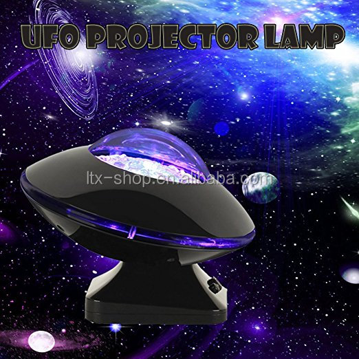 Hot Sale UFO Aurora Music Night Light Projector, Atmosphere Diamond Color Star Rotating Night Light Projector