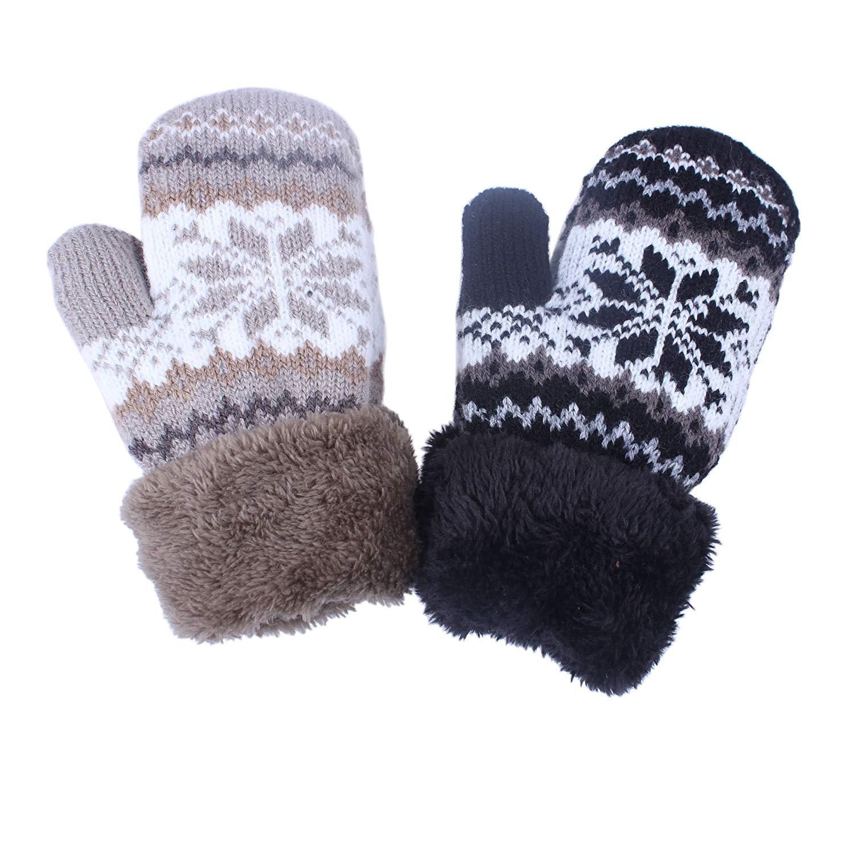 Toddler Baby Boy Girl Warm Winter Mittens Gloves With Fleece Lining Snowflake Design