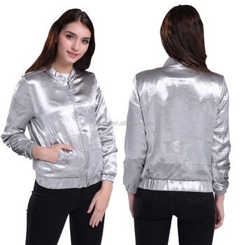 New Arrival Glossy Aviator Jacket With Lining Crop Bomber Jacket Zipper UP Plus Size XL Coat For Women Clothing 4 Season