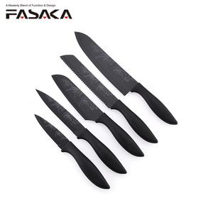 New arriving 2018 5pcs Kitchen Knife Set with flower printing on both blade side