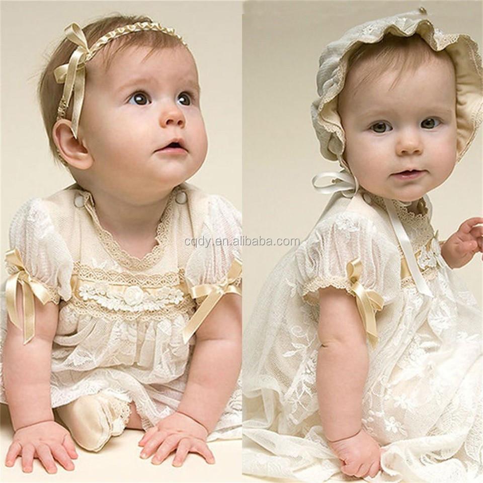 55016bf8f9a00b Baby Mädchen Taufkleider Mit Stirnband Weißes Gaze Kleid Mode Baby  Geburtstag Taufe Mädchen Kleider
