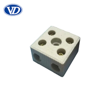 2-Pole 5-Way Porcelain Terminal Block 50A 600V