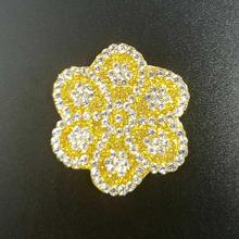 bling crystal fabric applique rhinestone hot fix mesh for hair clips