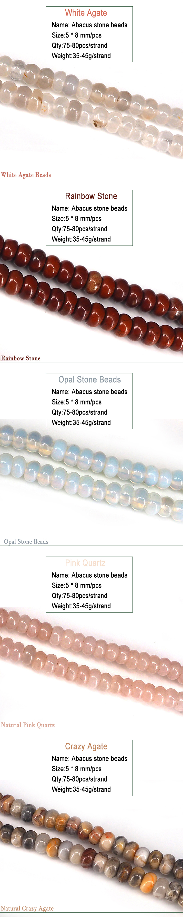 Wholesale DIY 5-8mm Loose Natural Stone Gemstone Spacer Beads for Jewelry Making