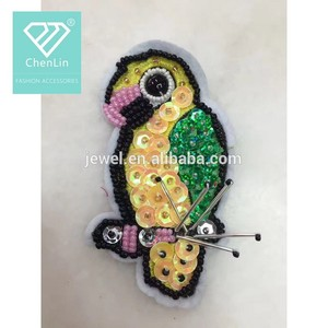 Chinese Style Embroidered Bird Patch Applique Embroidery For Dress
