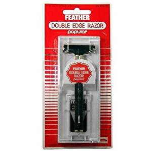 NEW MADE IN JAPAN FEATHER DOUBLE EDGE RAZOR POPULAR WITH 2 FEATHER BLADES