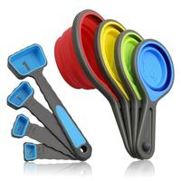 BPA Free Collapsible Silicone Measuring Cups and Spoons set for Liquid & Dry Measuring
