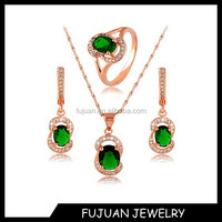 Fashion Korean Top Quality Emerald Zircon Wedding Imitation Jewelry Emerald Necklace Set