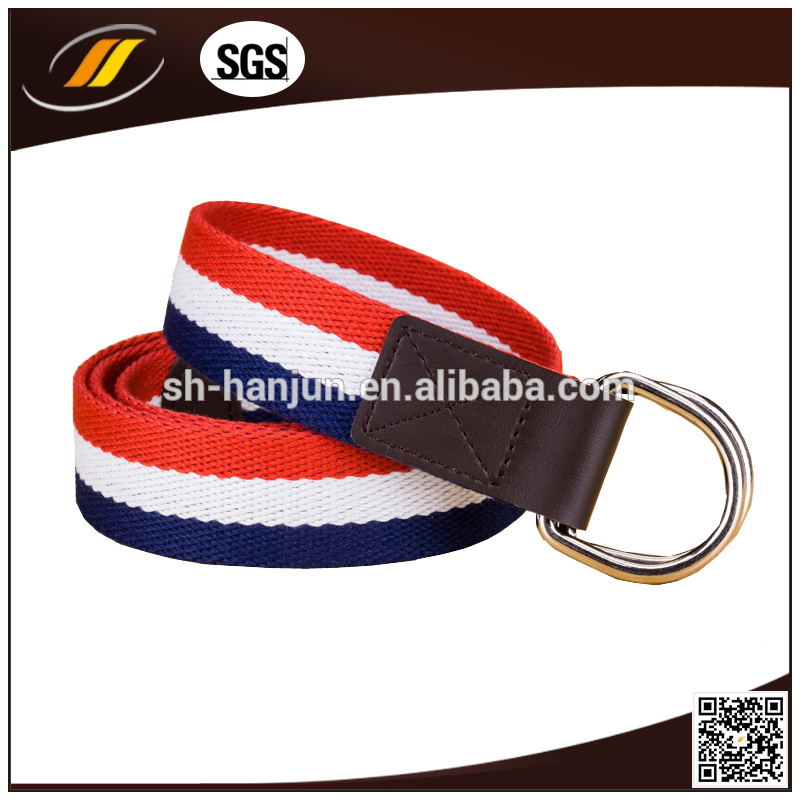Custom Navy Stripe Webbing Waist Mens Military Canvas Belt
