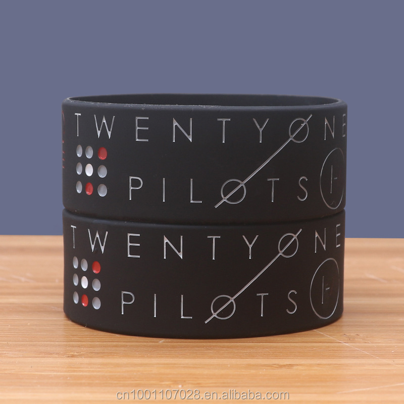 Twenty-one Pilots logo art silicone wristband America Rock band Bracelet Fans bangle 5pcs/lot in stock