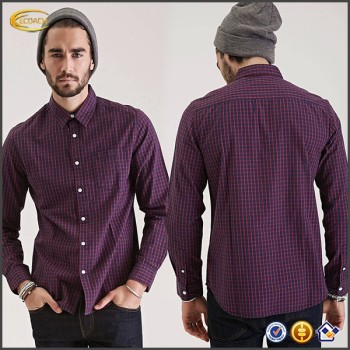 Windowpane Print Collared Shirt China Manufacturer Oem Man's ...