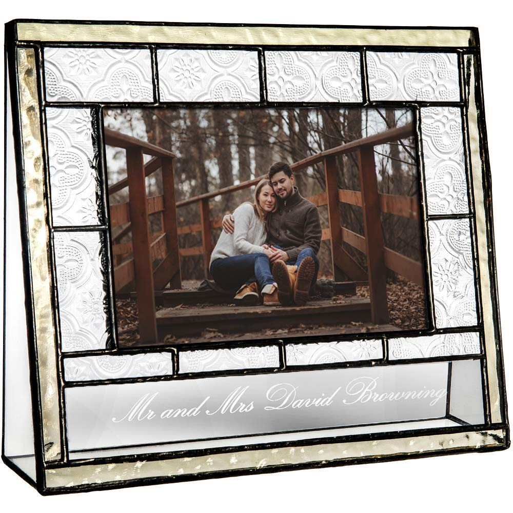 J Devlin Pic 387-46H EP564 Personalized Glass Picture Frame 4 x 6 Horizontal Photo Engraved Glass Wedding Engagement Anniversary Frame Keepsake Gift