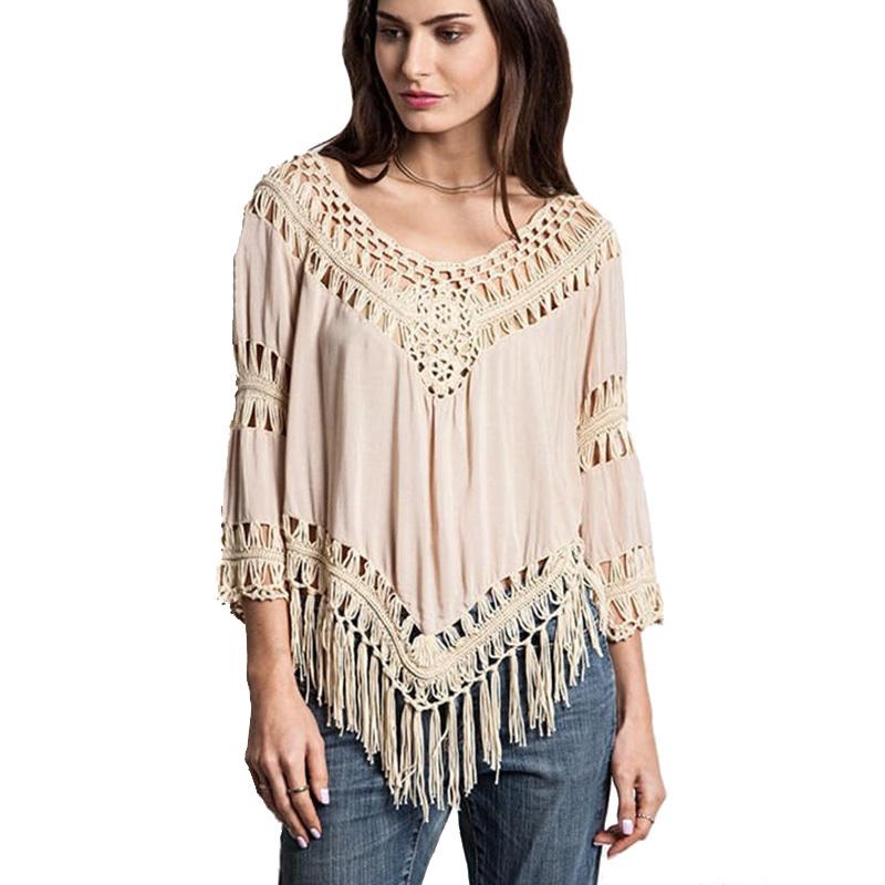 Get Quotations · Crochet Blouses Women 2015 Cheap Clothes China Camisa  Feminina Blusa Renda Tassel Vintage Hippie Boho Peplum 448e340ff
