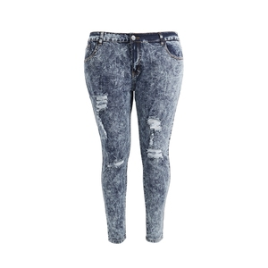 Womens Plus Size Stretch Distressed Ripped Blue Skinny Denim Jeans Pants