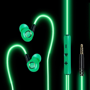 Hot selling EL light Athletic glowing headphones earphones with super bass stereo sound, works for Apple devices and Andorid